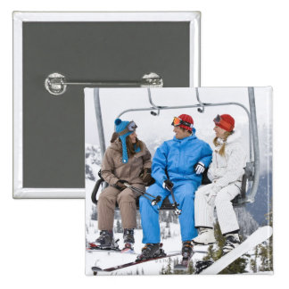 People on Ski Lift, Whistler-Blackcomb, British 2 Inch Square Button