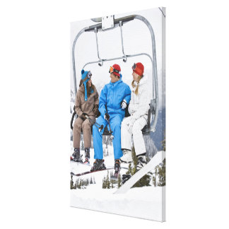 People on Ski Lift, Whistler-Blackcomb, British Canvas Print