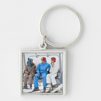 People on Ski Lift, Whistler-Blackcomb, British Silver-Colored Square Keychain