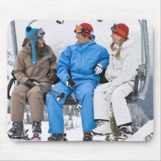 People on Ski Lift, Whistler-Blackcomb, British Mouse Pad