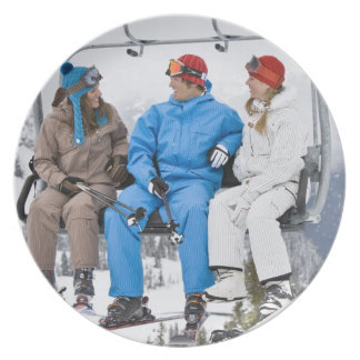 People on Ski Lift, Whistler-Blackcomb, British Dinner Plates