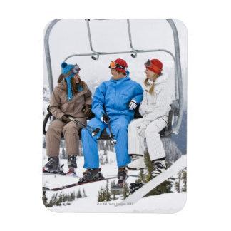 People on Ski Lift, Whistler-Blackcomb, British Rectangle Magnets