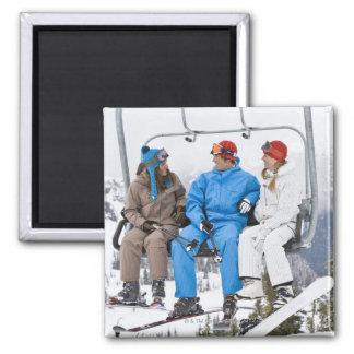 People on Ski Lift, Whistler-Blackcomb, British Square Magnet
