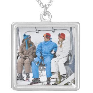 People on Ski Lift, Whistler-Blackcomb, British Square Pendant Necklace
