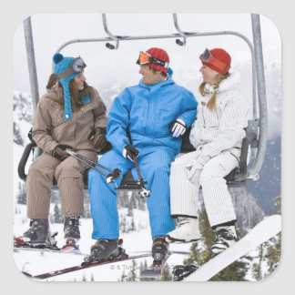 People on Ski Lift, Whistler-Blackcomb, British Square Sticker
