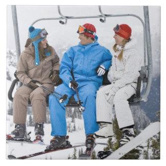 People on Ski Lift, Whistler-Blackcomb, British Tile