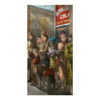 People - People waiting for the bus - 1943 Customized Photo Card