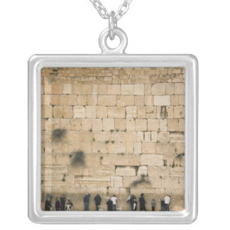 People praying at the wailing wall silver plated necklace