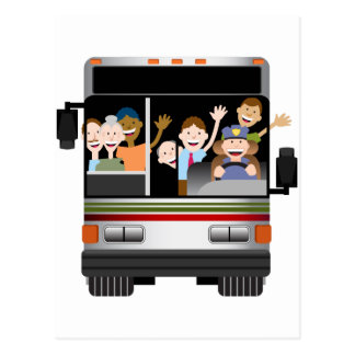 People Riding on a Bus Postcard