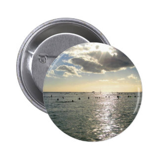 People Swimming at Waikiki Beach at Sunset Hawaii Buttons