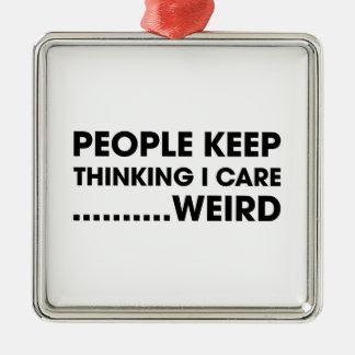 People Think I Care Silver-Colored Square Ornament