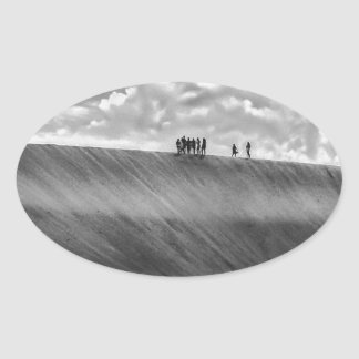 People Walking at Dune Jericoacoara Brazil Oval Sticker