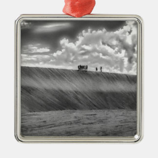 People Walking at Dune Jericoacoara Brazil Silver-Colored Square Ornament
