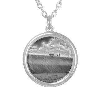 People Walking at Dune Jericoacoara Brazil Silver Plated Necklace