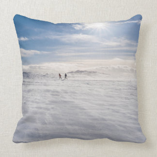 People walking over snow, Iceland Throw Pillow