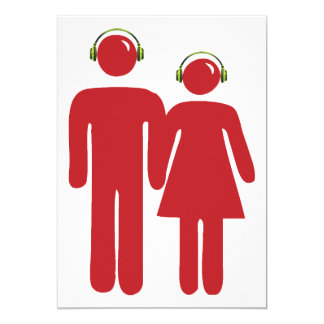 People Wearing Headphones Invitations