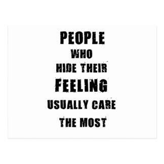 people who hide their feeling usually care most postcard