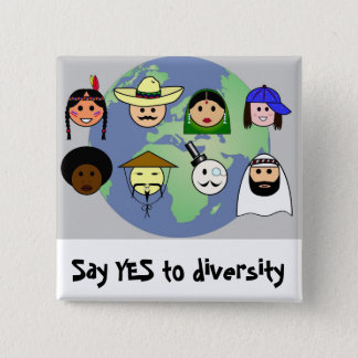 People worldwide anti racism pro diversity 2 inch square button