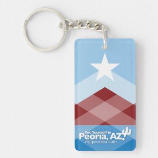 Peoria Flag Keychain, Rectangular Keychain