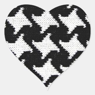 Pepita black and white heart sticker