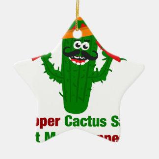 Pepper Cactus Says Eat More Peppers Ceramic Ornament