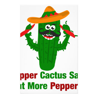 Pepper Cactus Says Eat More Peppers Stationery