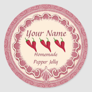 Pepper Jelly Personalize Pink Classic Round Sticker