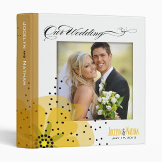 Pepper Poppies Wedding Photo Album yellow 3 Ring Binder