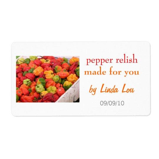 Pepper Relish Preserves Label 2 Shipping Label