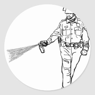 Pepper Spraying Cop Classic Round Sticker