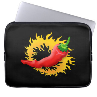 Pepper with flame laptop sleeves