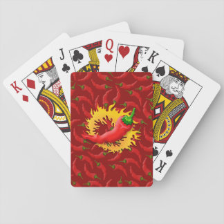 Pepper with flame playing cards