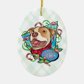 Peppermint Bark Ceramic Oval Ornament