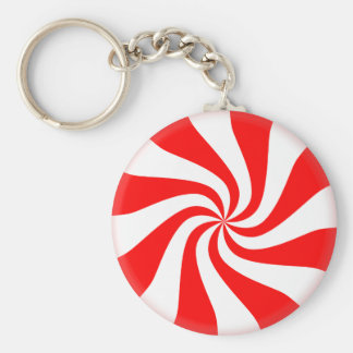 Peppermint Button Keychain