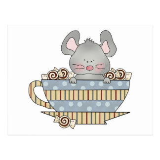 peppermint candies christmas mouse cup postcard
