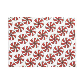 Peppermint Candy Cane Christmas Holiday Sweet Mint Doormat