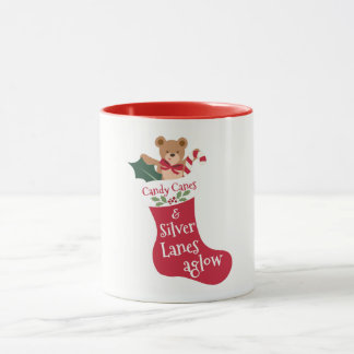 Peppermint Candy Cane Red Christmas Stocking Mug