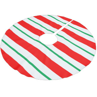 Peppermint Candy Cane Stripes Christmas Tree Skirt Brushed Polyester Tree Skirt