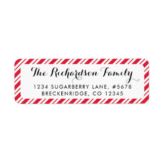 Peppermint Candy Cane Stripes Return Address Label