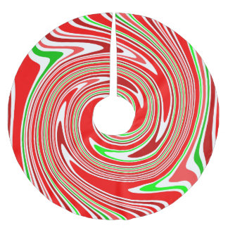Peppermint Candy Cane Swirl Red Green White Brushed Polyester Tree Skirt