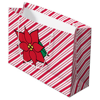 Peppermint Candy Christmas Red Poinsettia Gift Bag