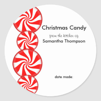 Peppermint Candy Custom Classic Round Sticker