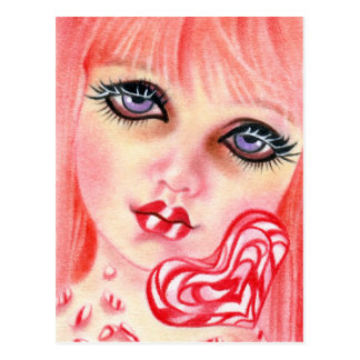 Peppermint Candy Girl Holiday postcard