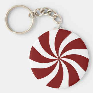 Peppermint Candy Swirl Red and White Keychain