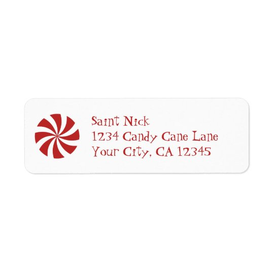 Peppermint Christmas Candy Swirl Return Address Label
