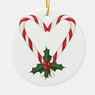 Peppermint Heart Round Ceramic Ornament