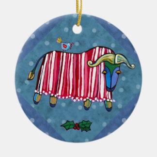 Peppermint Ox Christmas Tree Ornament