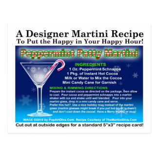 Peppermint Patty Christmas Martini Recipe Postcard