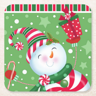 Peppermint Snowman Coaster