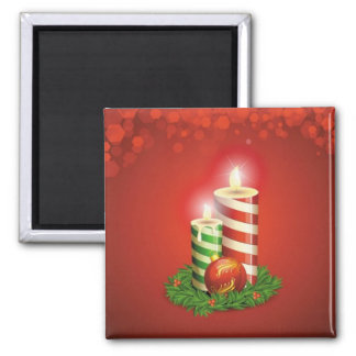 Peppermint Stripe Christmas Candles Magnet